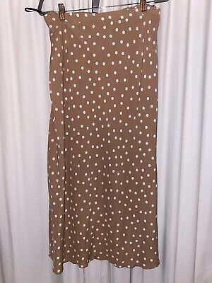 Brown White Polka Dot Spot Faux Silk Satin Midi Skirt Size 18 Primark • 1.60£