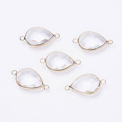 5 Clear Gold Glass Teardrop Faceted Connectors Jewellery Making Phone Case 25mm  • 2.99£