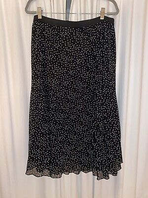 Primark Size 18 Black White Polka Dot Spot Midi Skirt Pleated • 2£