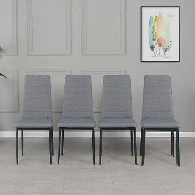£69.99 • Buy 4 PCS Grey Linen Fabric Dining Chairs Set Padded Seat High Back Home Furniture
