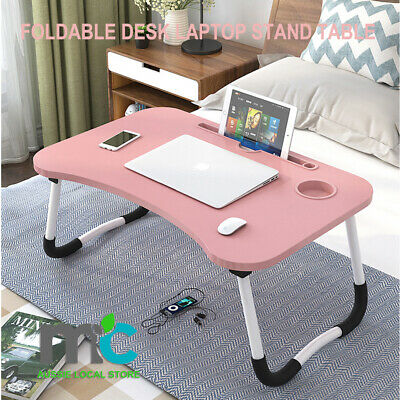 AU26.99 • Buy Foldable Desk Laptop Stand Table Bed Computer Study Adjustable Portable Cup Slot