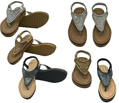 Ladies Womens Rhinestones Sandals Summer Comfy Flip Flops Shoes Size Espadrille • 14.95£