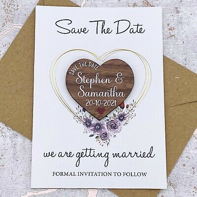 AU52.11 • Buy Personalised Walnut Wedding Save The Date Heart Fridge Magnet, Card Invite