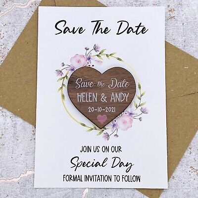 AU23.31 • Buy Personalised Walnut Floral Save The Date Heart Wedding Fridge Magnet Card Invite