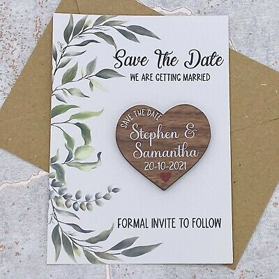 AU70.10 • Buy Personalised Leafs Save The Date Walnut Heart Fridge Magnet Wedding Card Invite.