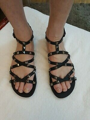 Exc Cond Firetrap Black Studded Gladiator Style Flat Sandals Size 6 • 4.99£