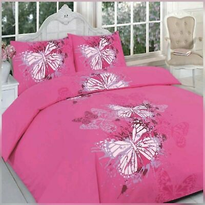 £13.94 • Buy Luscious Butterfly Patterned Pink Polly/cotton Double Duvet Cover Set