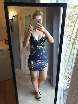 AU12.62 • Buy Size 10 Dress Missguided Sexy Summer Mini Dress Navy Blue Floral Design