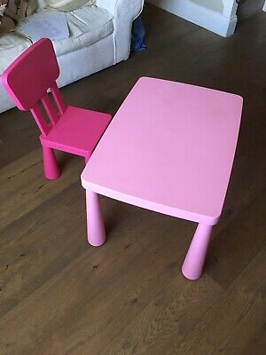 Mammut Ikea Children's Table And Chair - Kids Girls Pink Set Bundle • 4.60£