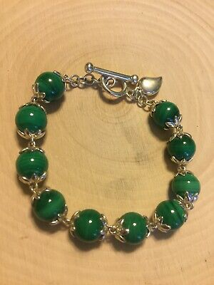 $ CDN42.35 • Buy Lovely WK Sterling Silver 8mm Malachite Bead Bracelet Toggle Clasp 7 Inches EUC
