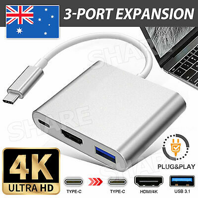 AU11.95 • Buy Type C To USB-C HDMI USB 3.0 Converter Adapter Cable 3 In 1 Hub For MacBook Pro