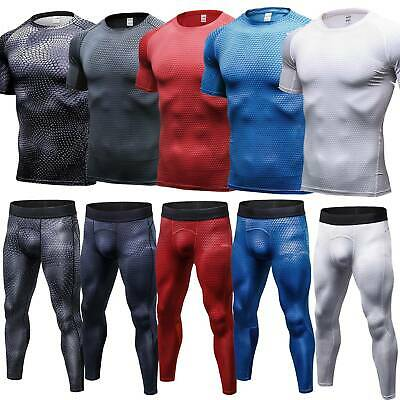 Men Compression Tops Under Base Layer Leggings Pants Shorts Sports Gyms Training • 10.49£