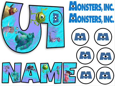 Monster Inc Inspired Name And Number Personalised Cake Edible Icing Topper • 5.99£