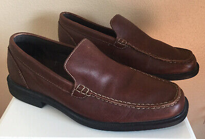 Men's Rockport Loafers Shoes Brown Genuine Leather Size 9.5 W • 9.30£
