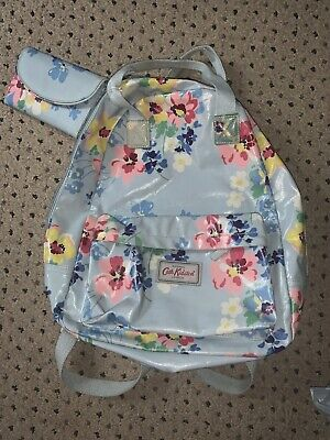 Cath Kidston Backpack / Rucksack With Matching Oilcloth Purse Blue With Flowers • 35£