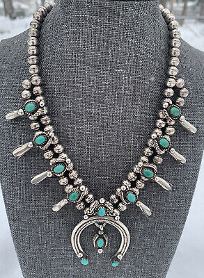 $ CDN435.16 • Buy Vintage Sterling Silver Navajo Squash Blossom Kingman Tuquoise Bench Necklace