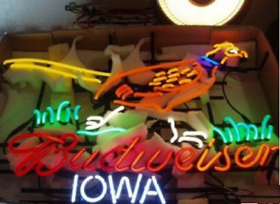 $ CDN288.87 • Buy New Budweiser Pheasant Iowa Beer Neon Lamp Light Sign 24 X20  Glass Wall