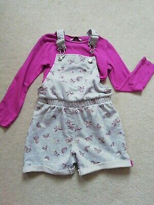 Girls Dungarees Shorts And Top (2set)5-6y • 5£