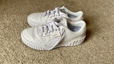 AU27.03 • Buy Puma Ladies UK6/EU36 White/Gold Leather Trainers Worn Once.
