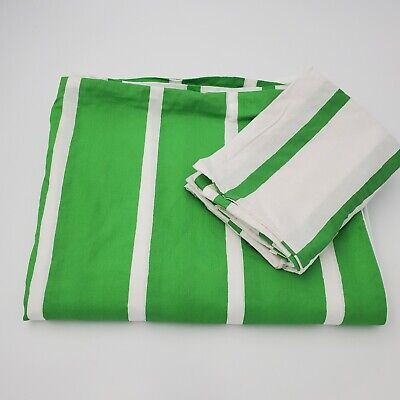 IKEA Tuvbracka Twin Bed Duvet Cover Stripe & Pillowcase Green White Reversible  • 20.60£