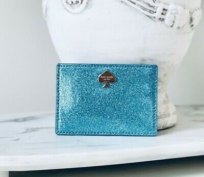 $ CDN40.34 • Buy NWT Kate Spade Glitter Bug Card Holder Wallet Graham Lakesedge Blue Sparkle