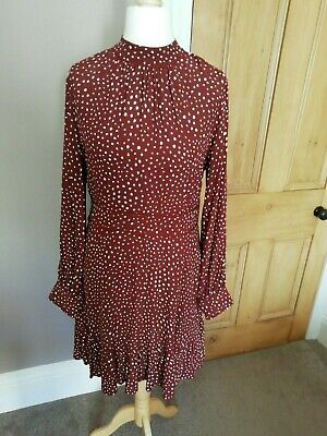 BNWT Trend Fluted Polka Dot Dress With Puff Sleeves, Brown And Cream M&S 12  • 10.10£