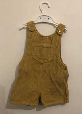 2-3 Years Mustard Yellow Corduroy Dungarees Shorts From F&F Tesco • 3.20£