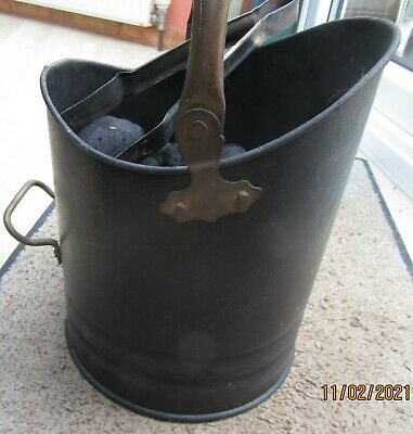 Coal Scuttle/ Bucket Waterloo Style Traditional Black, Bronze Handle And Tongs  • 5£