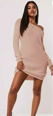 Missguided Petite  Off The  Shoulder Jumper Dress In Pink Uk 10 Bnwt • 8.99£