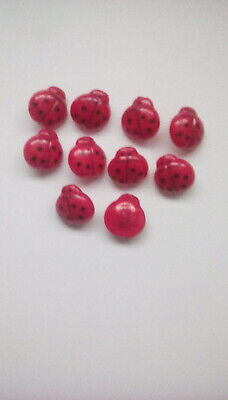 10 X Red And Black Acrylic Ladybird Shank Buttons ~ Cardigans / Crafts • 1.75£