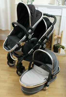 Lovely Icandy Peach  3 Blossom Tandem Double Pushchair & Carrycot Black Magic  • 350£