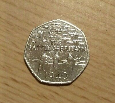 2015 Battle Of Britain 50p Fifty Pence Coin, Circulated But Good Condition • 1£