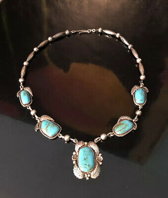 $ CDN273.40 • Buy Vintage Navajo Sterling Silver & Turquoise Squash Blossom Necklace 24  Signed EW