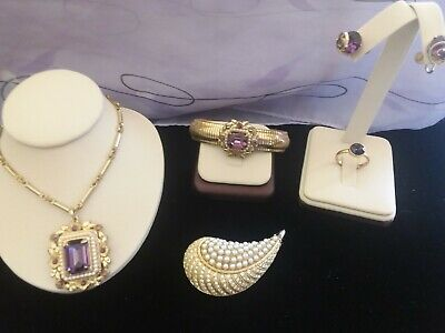 $ CDN94.67 • Buy  Vintage Lot Of Ameythst Goldtone Jewelry - Signed Coro