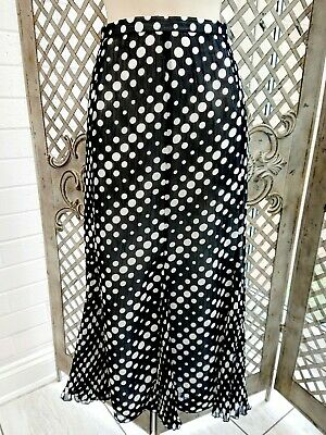 Gold Sheer Lined Chiffon Black / White Polka Dot Skirt Uk 16 Retro • 10£