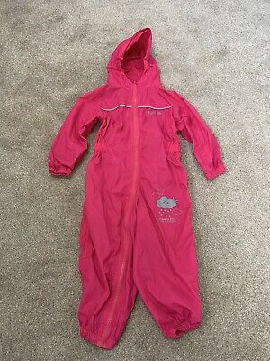 GIRLS PINK REGATTA WATERPROOF PUDDLE SUIT RAIN SUIT ALL IN ONE 24-36m 2-3years • 6£