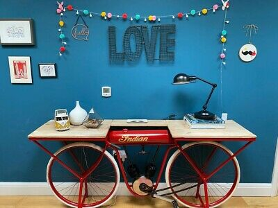 £405 • Buy Red Indian Bike Console Table /34 H X 72 W X 18 D