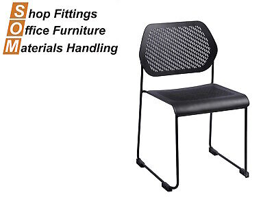 AU110 • Buy Frame Black Plastic Sled Base Office Visitor Conference Chair Stackable