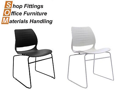 AU120 • Buy Vivid Sled Base Office Visitor Conference Chair Black Or White Stackable Plastic