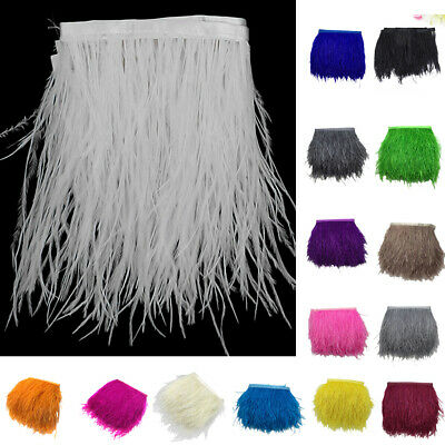 £5.61 • Buy Ostrich Feather Dyed Fringe Trim For DIY Costume Hat Millinery Decorations