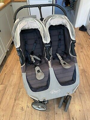 Baby Jogger City Mini Double Pushchair - Grey With 1 Carrycot And Rain Cover • 40£