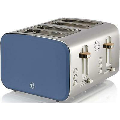 £52.95 • Buy Swan 4 Slice Nordic Style Toaster Blue, Cord Storage, Non-Slip Feet, Crumb Tray