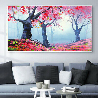 Large Tree Pink Red Leaves Canvas Wall Art Picture Print Living Room Home Decor • 12.99£