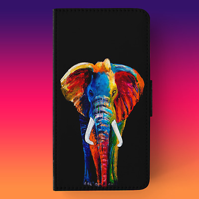 Premium Painted Elephant With Black Background Rubber/faux Leather Flip Case • 7.89£