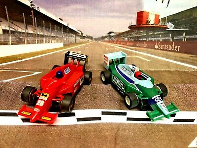 Pair Of F1 Cars Ford Benetton & Ferrari Micro Scalextric Fitted With New Brushes • 34.99£