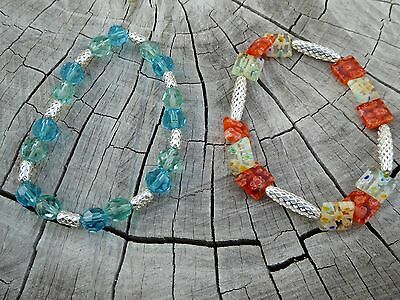 Empowering Jewelry Lot Of 2 Bracelets Blue Red Stretchy Beaded Boho Indie Geo • 2.53£