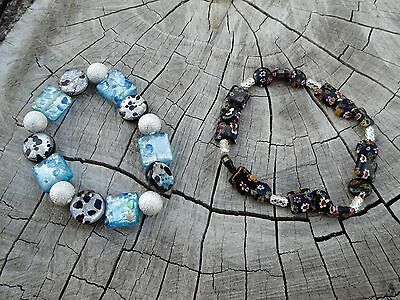 Empowering Jewelry 2 Bracelets Blue Black Geo Floral Stretchy Beaded Boho Indie • 2.53£