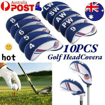 AU15.86 • Buy 10pcs Neoprene Golf Club Headcovers Head Cover Iron Protect Set AU Seller