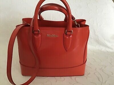 £111 • Buy Max Mara Leather Bag Coral Red Worn Few Times