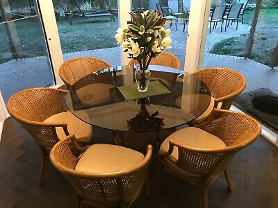 AU275 • Buy Gary Masters Glass Top Cane Dining Table & 6 Chairs - Just Lovely!